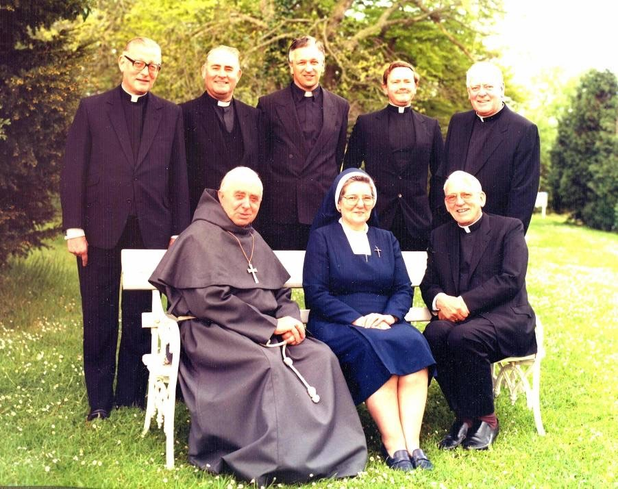 The Committee in 1982 (front from left): Bishop John Jukes, Sr. Paula Costello, Bishop Gerald Moverley; (back from left) Mgr. Ralph Brown ({President), Mgr. David Cousins, Mgr. James Joyce (Secretary), Fr.Gordon Read, Mgr. Gerard Sheehy.